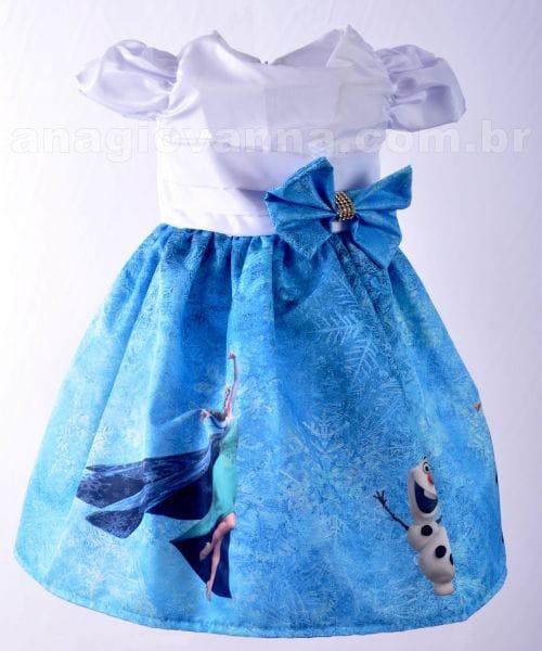 Vestido Frozen Anna e Elsa Luxo de aniversário