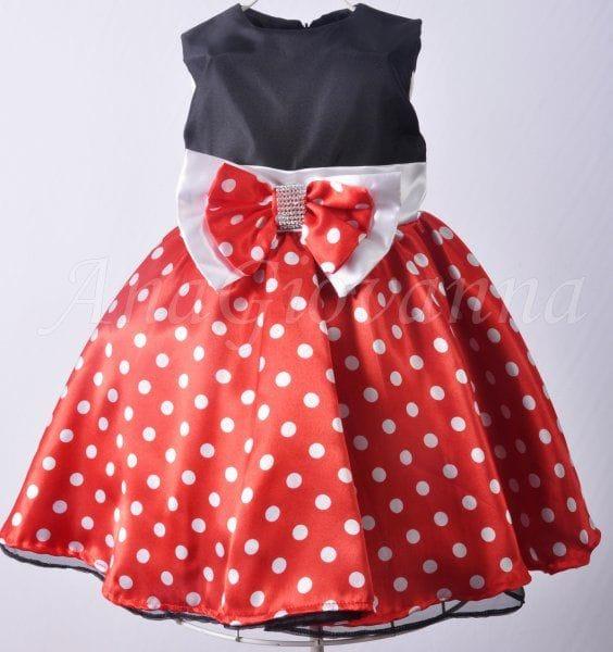Vestido Infantil Social da Minnie Vermelho e Preto