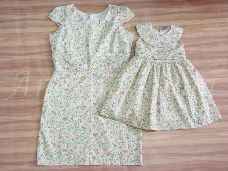 Vestidos Mãe e Filha Florido Verde