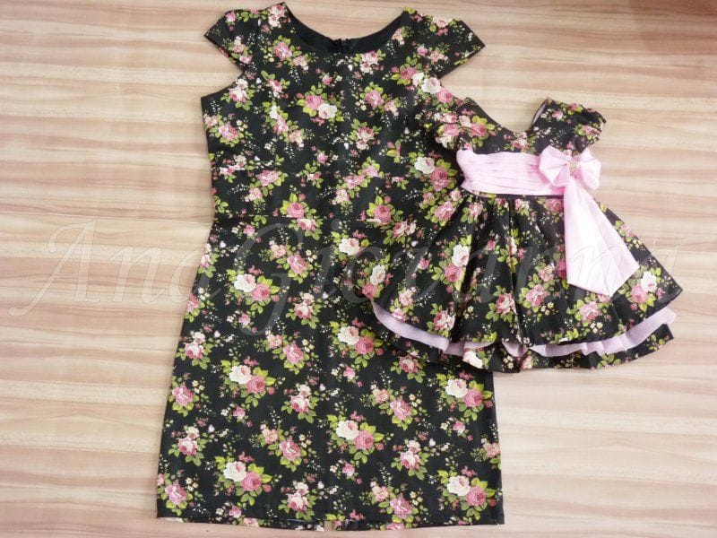 Vestidos Mãe e Filha Floral Preto