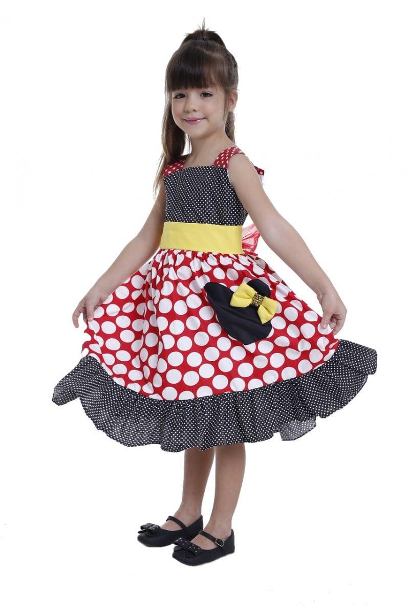 Vestido Minnie Preto e Vermelho para Festa Infantil