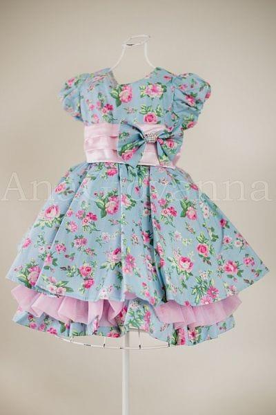 Vestido para meninas floral azul