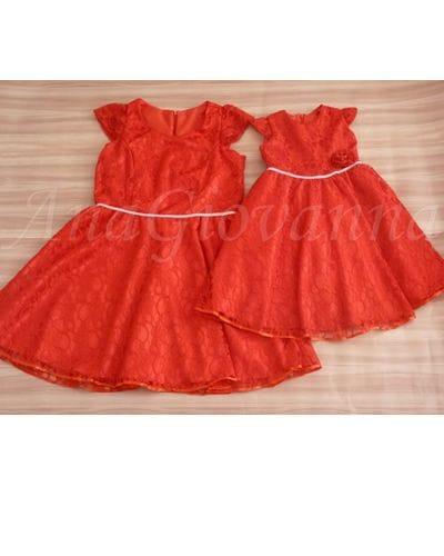 Vestidos Mãe e Filha de Renda Vermelho