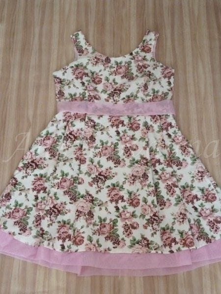 Vestido Adulto de Festa Floral Rosa