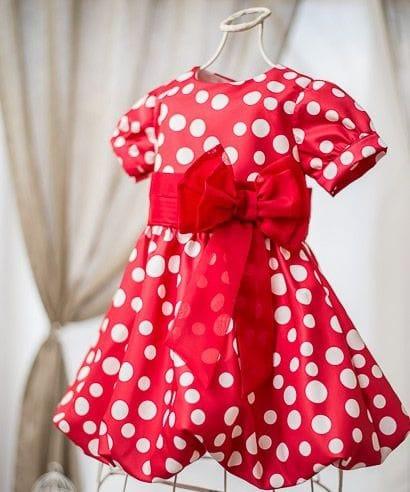 Vestido Infantil da Minnie vermelho e branco