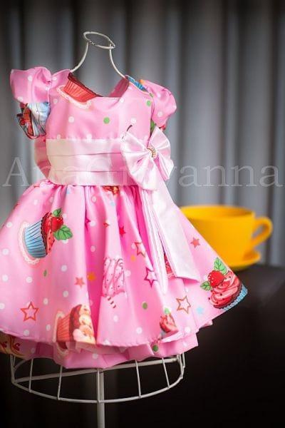 Vestido Infantil para Festa Cupcake