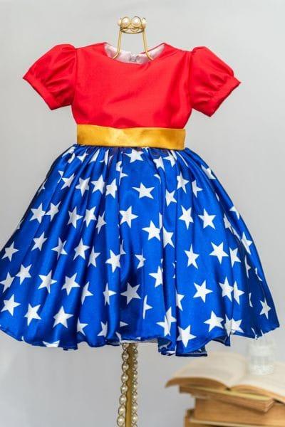 Vestido de festa Infantil da Mulher Maravilha