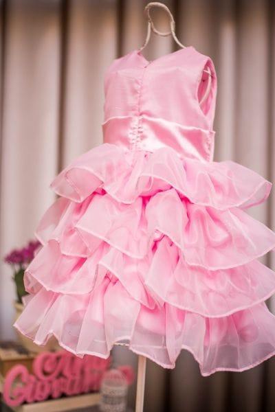 Vestido rosa infantil princesa
