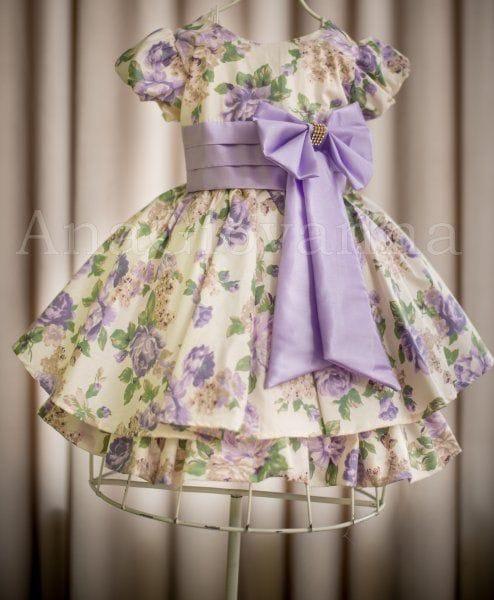 Vestido Florido Lilás Festa Infantil