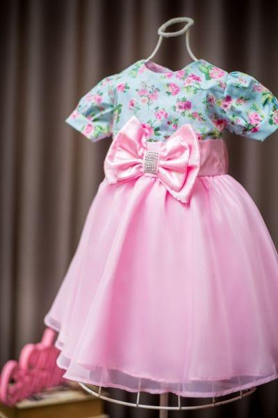 Vestido Infantil de Festa Princesa Floral com Rosa