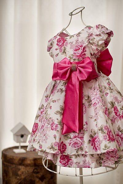 Vestido Infantil para Festa Floral Pink