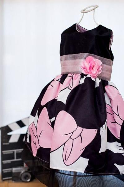Vestido Infantil da Minnie Rosa com Preto
