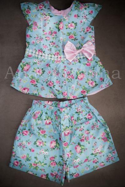 Conjunto Infantil Feminino Floral Azul