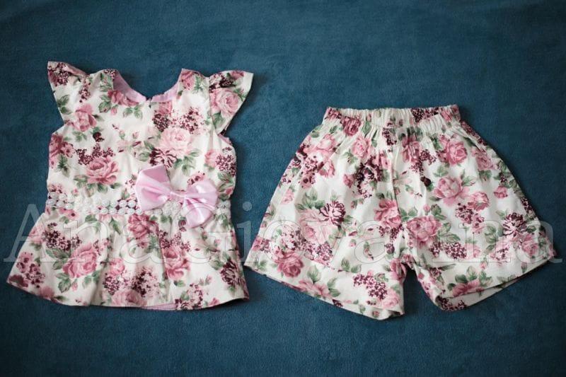 Conjunto Infantil Feminino Blusa e Shorts Florido