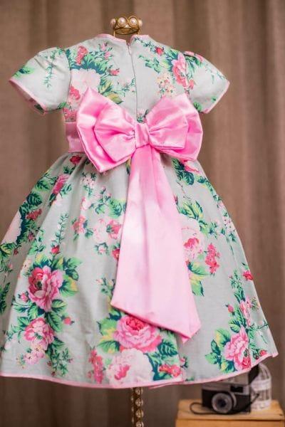 Vestido de Festa Infantil Floral Verde para Aniversário