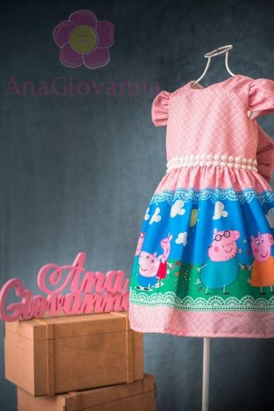 Vestido Aniversário Peppa Pig Luxo Festa Infantil