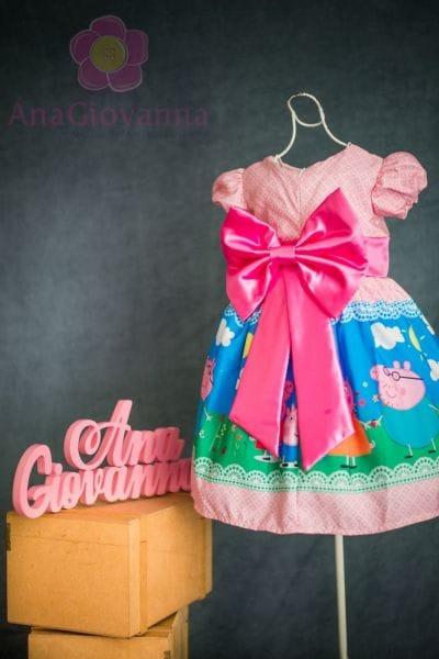 Vestido da Peppa Pig Luxo Rosa Pink