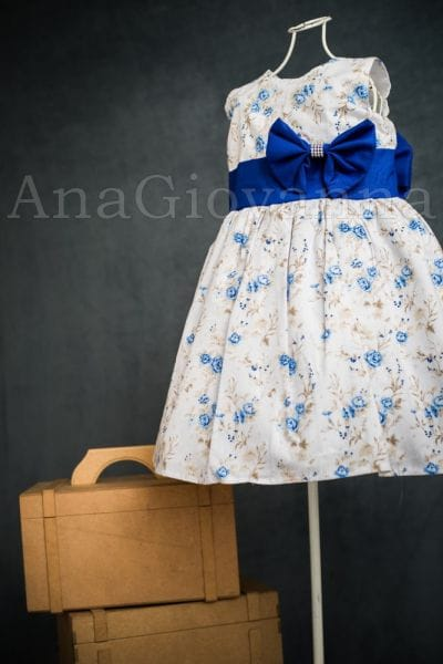 Vestido para festa Infantil Floral Azul