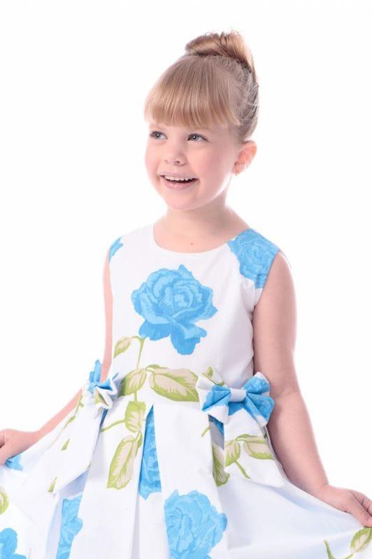 Vestido Floral Infantil Azul
