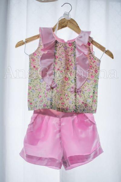 Conjunto Shorts e Blusa infantil feminino florido