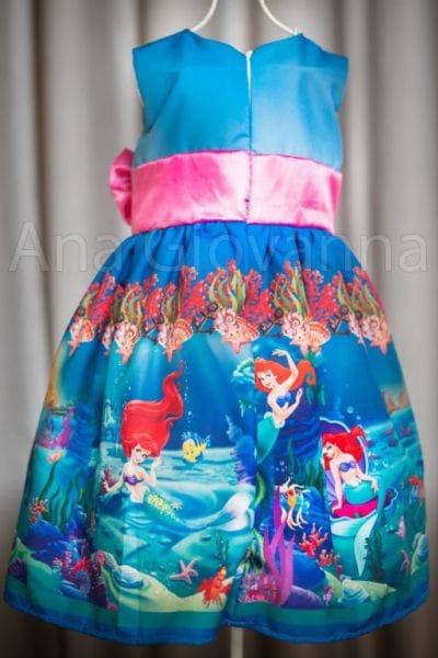 Vestido da Ariel Pequena Sereia