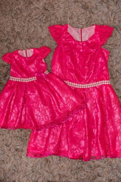 Vestidos de Renda Mãe e Filha Pink