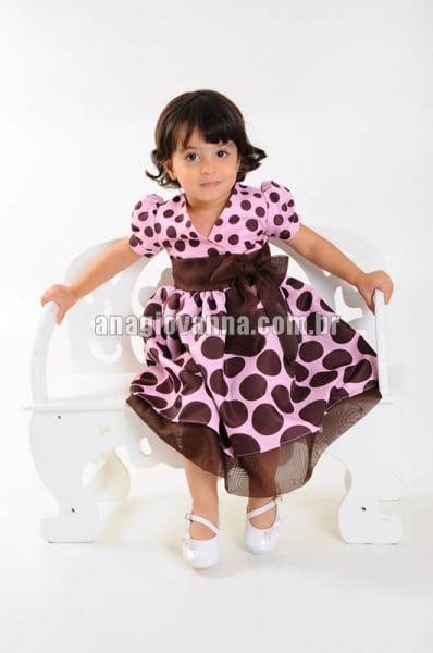 Vestido Infantil Rosa com Marrom
