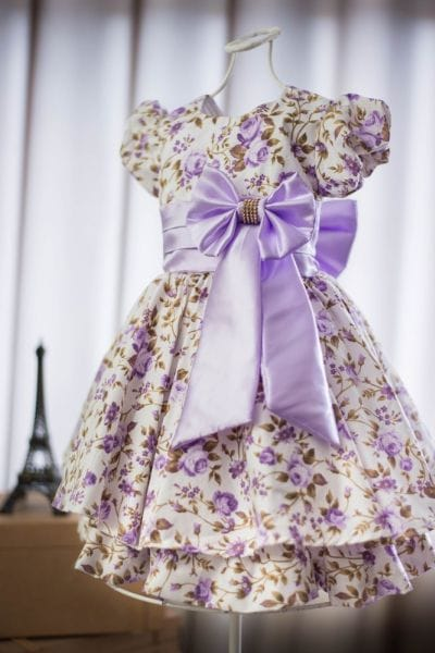 Vestido Infantil Florido Lilás
