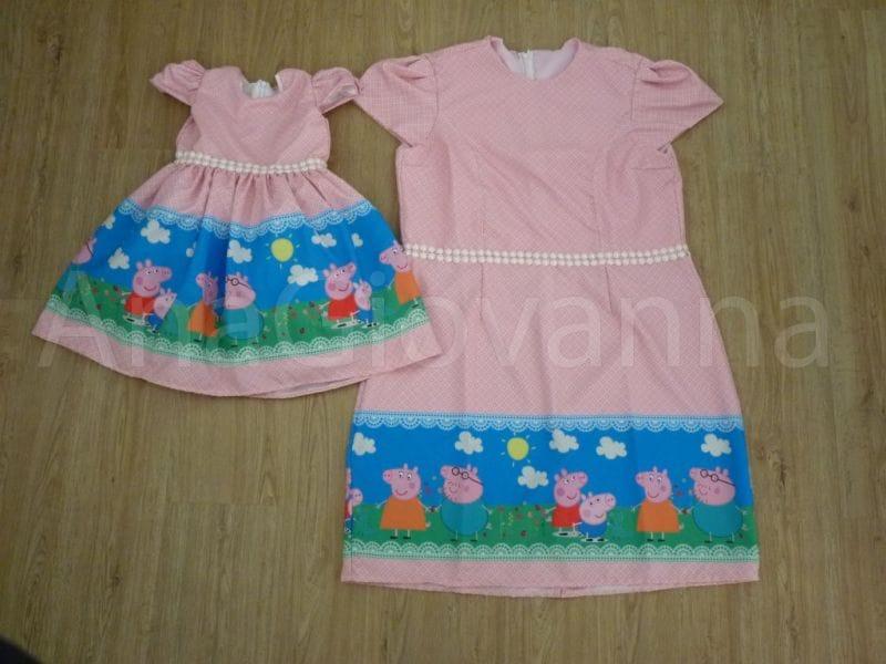 Vestidos Mãe E Filha Da Peppa Rosa