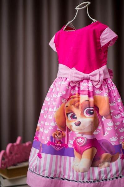 Vestido infantil para festa Patrulha Canina