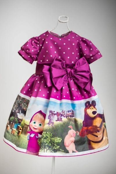 Vestido Infantil Masha e o Urso