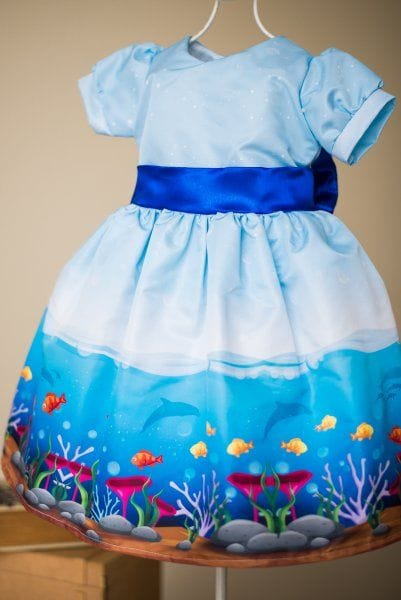 Vestido Infantil de Festa Fundo do Mar