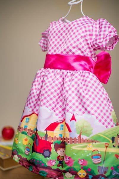 Vestido Infantil de Festa Fazendinha Rosa