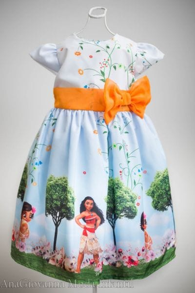 Vestido Infantil de Festa Moana