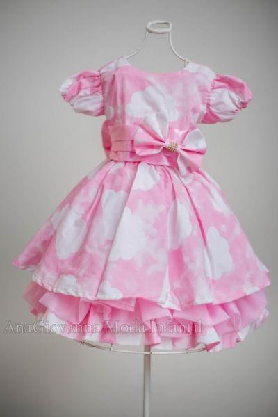 Vestido de Festa Infantil Nuvem Rosa
