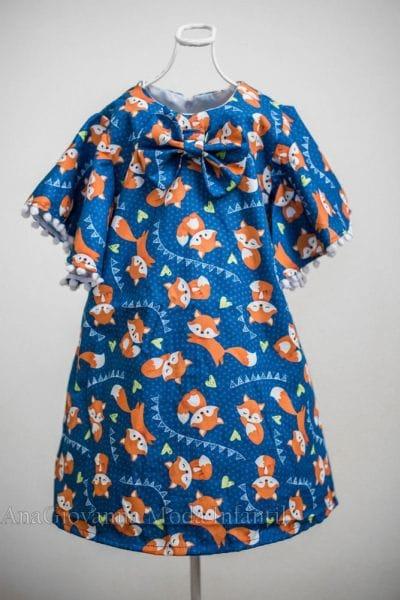 Vestido de Festa Infantil Raposinha Trapézio
