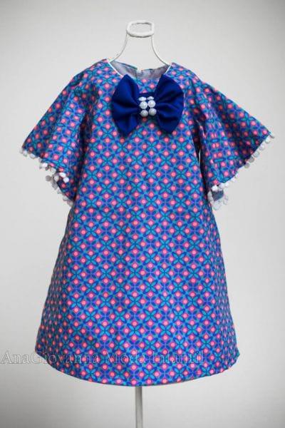 Vestido de Festa Infantil com estampa geométrica