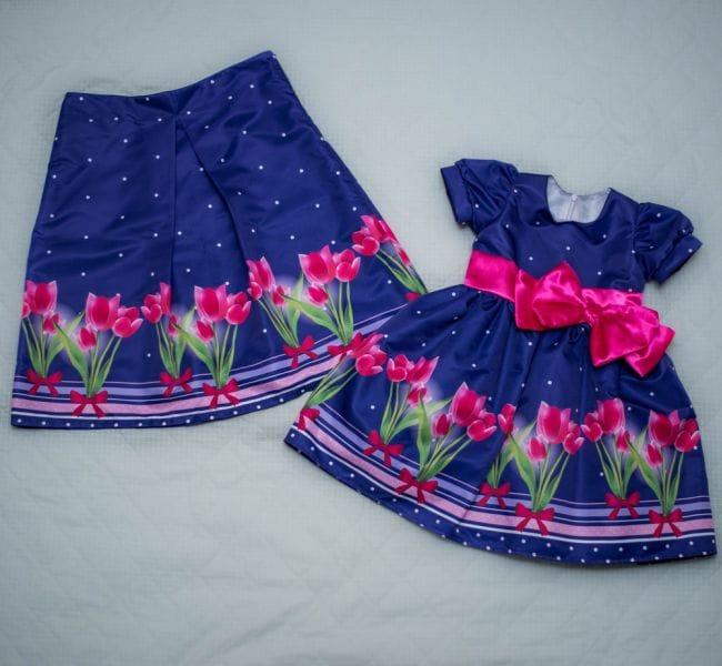 Vestido Infantil e Saia Adulto Floral