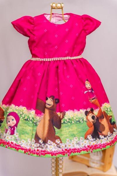 Vestido de Festa Infantil Masha e o Urso