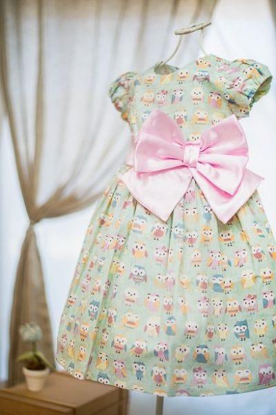 Vestido Infantil com Estampa de Corujinha
