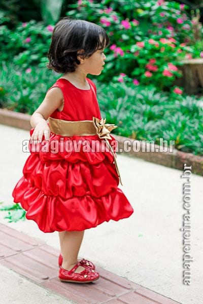 Vestido Infantil Balonê Vermelho