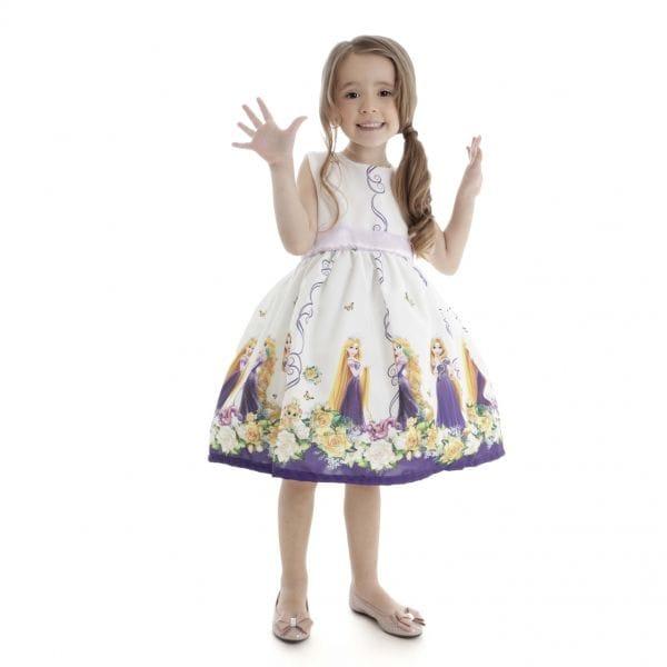 Vestido Infantil de Festa Rapunzel