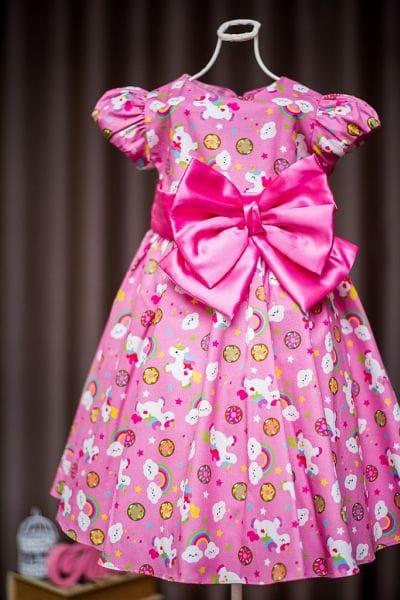 Vestido de Festa Infantil Unicornio
