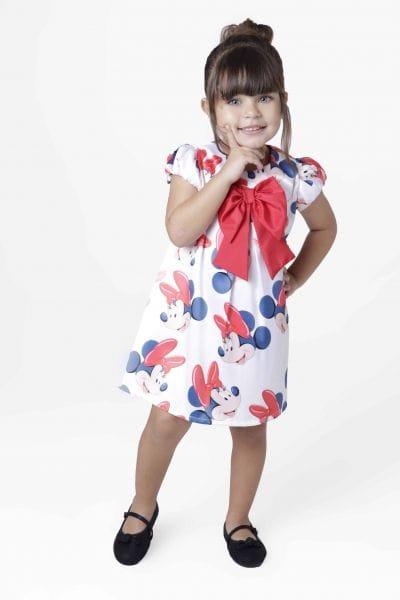 Vestido Infantil de Festa da Minnie Vermelha