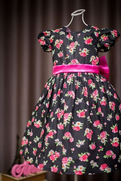 Vestido de Festa Infantil Floral Preto e Pink