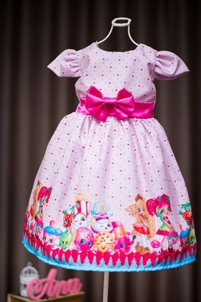 Vestido Festa Infantil Shopkins