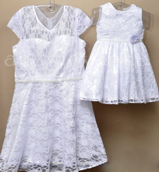 Vestido Mãe e Filha de Renda Branco