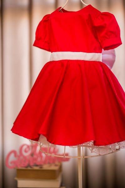 Vestido Infantil Vermelho e Branco