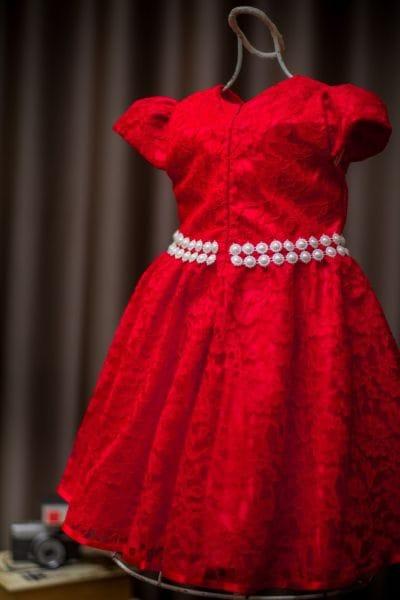 Vestido Infantil Vermelho para festa de renda