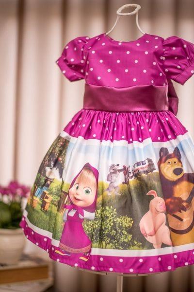 Vestido Infantil Masha e o Urso Luxo